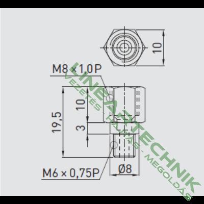 Zsírzó adapter; egyenes; M6x0,75 - M8x1
