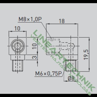 Zsírzó adapter; 90°-os; M6x0,75 - M8x1