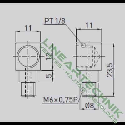 Zsírzó adapter; 90°-os; M6x0,75 - 1/8 kúpos